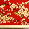 japanese blossom floral cotton red