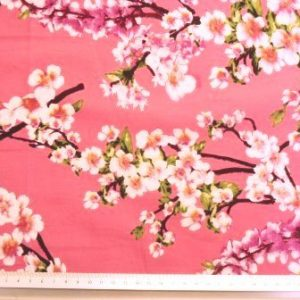 japanese blossom floral cotton pink