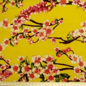 japanese blossom floral cotton yellow