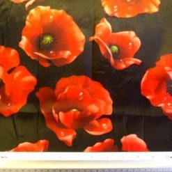 Satin Print Fabric Red Poppy Blooms