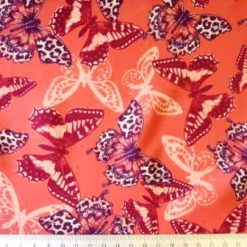 Scuba Jersey Fabric Coral Butterfly