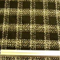Suiting Fabric Black/Grey/Ivory Wool Boucle Botany Check