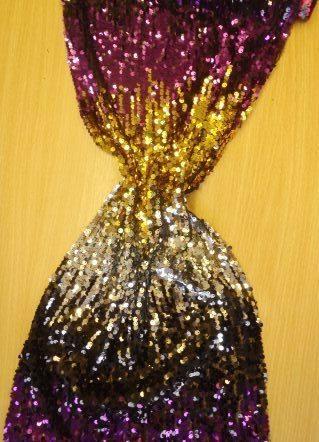 purple/gold tye dye sequin on net