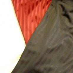 black, white, plum stripe satin jersey
