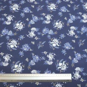 Cotton Fabric Navy Hibiscus