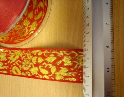 red/gold Ribbon Lotus Jacquard