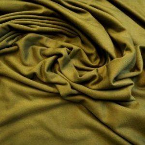 Khaki viscose jersey t-shirting plain colours