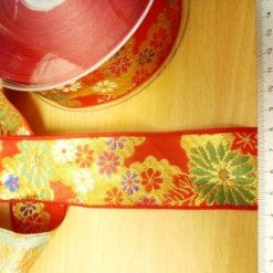 red multi Ribbon Lotus Jacquard