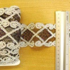 lace trimming lazer sequin black/silver