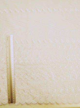 Broderie Anglais One Side Boardered Fabric 146cm Wide White