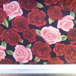 Satin Print Fabric Japanese Rose