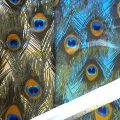 Satin Print Fabric Peacock Plumes