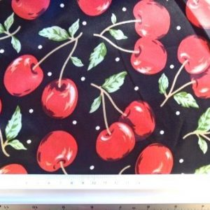 Satin Print Fabric Cherry Cocktail