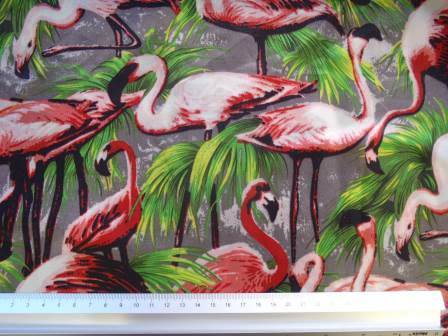 Satin Print Fabric Flamingo Festival