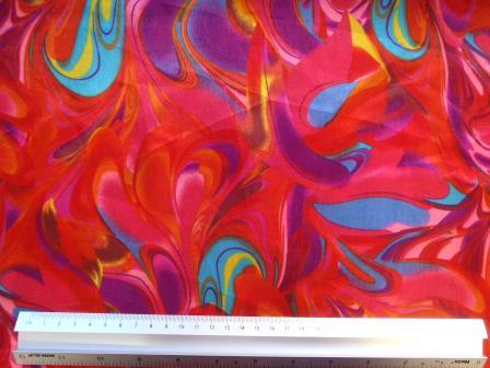 Red Satin Print Fabric Colour Carnival