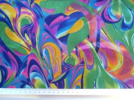 Green Satin Print Fabric Colour Carnival
