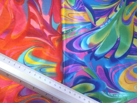 Satin Print Fabric Colour Carnival