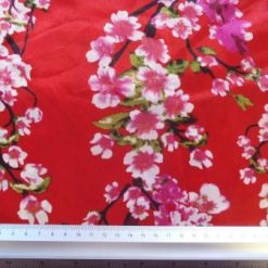 Satin Print Fabric Cherry Blossom