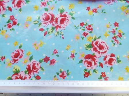 Satin Print Fabric Blooming Roses Blue