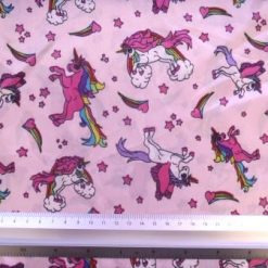 Satin Print Fabric Rainbow Unicorns
