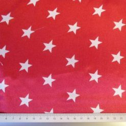 Satin Print Fabric Star Gazer Red