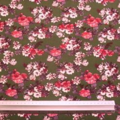 Viscose Fabric Floral Garden Green