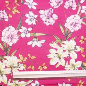 Viscose Fabric Planet Lily Cerise