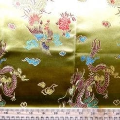 Chinese Brocade Dragon Print Fabric Khaki