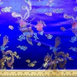 Chinese Brocade Dragon Print Fabric Royal