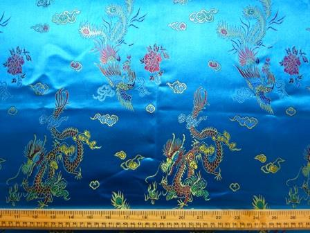 Chinese Brocade Dragon Print Fabric Turquoise
