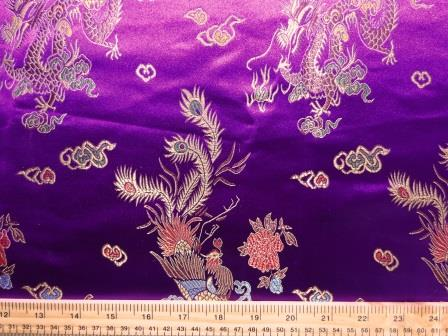 Chinese Brocade Dragon Print Fabric Purple