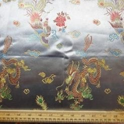 Chinese Brocade Dragon Print Fabric Silver Grey