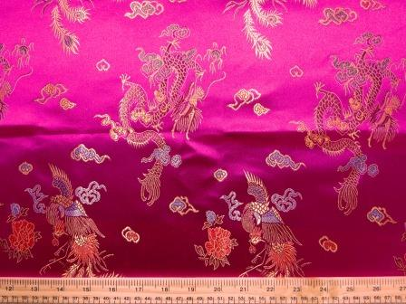 Chinese Brocade Dragon Print Fabric Cerise