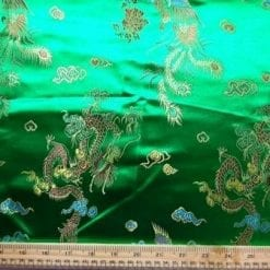 Chinese Brocade Dragon Print Fabric Emerald