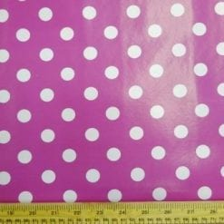 Cerise Spotty PVC tabling fabric