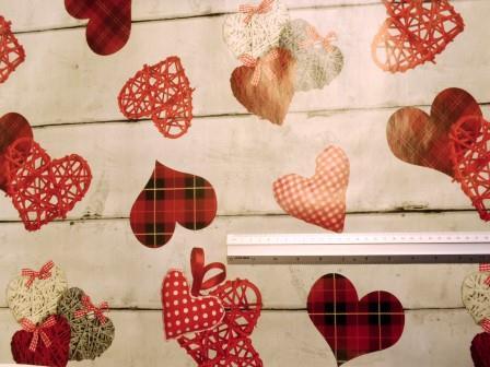 PVC Tabling Fabric Tartan Hearts