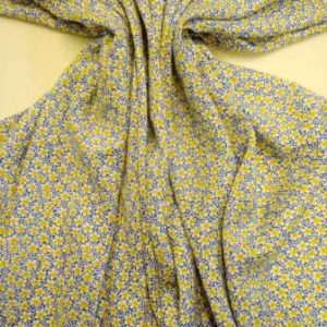 Viscose Fabric Star Flower Blue/Yellow
