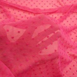 Chiffon Fabric Dobby Dapple Cerise
