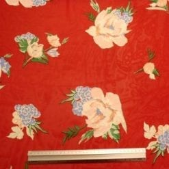 Georgette Fabric Exotic Garland Red