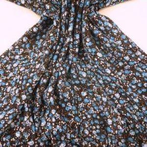 Viscose Fabric Petite Rose Floral turq