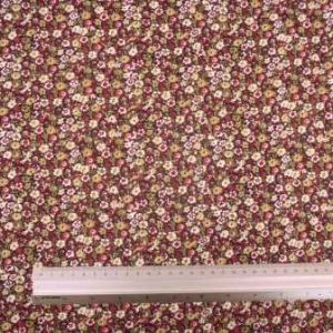 Viscose Fabric Itsy Bitsy Flower khaki/wine