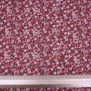 Viscose Fabric Itsy Bitsy Flower plum/red