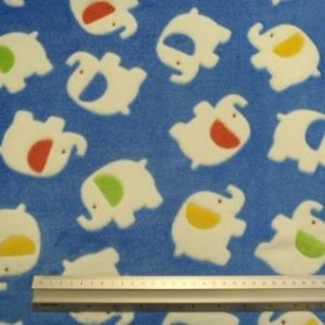 Fleece Fabric Huggable Polyester Blue Elephants