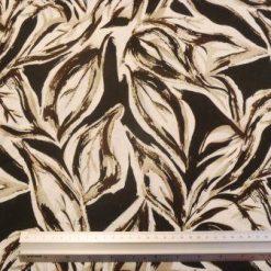 Linen Fabric Print Chocolate Leaves