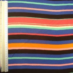 Crepe De Chine Fabric Multi Bold Stripe
