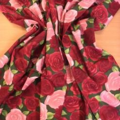 Cotton Fabric Beautious Rose Floral Design green