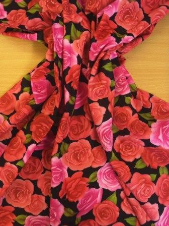 Cotton Fabric Beautious Rose Floral Design black