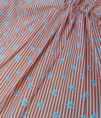 Satin Fabric Matt Stars And Stripe
