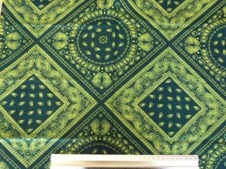 Viscose Rayon Printed Fabric Bandana Havana Teal