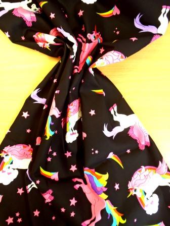 Cotton Fabric Unicorns Extra Large 100% Cotton Black